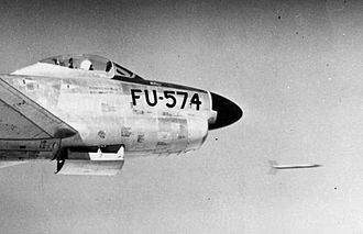 332d Fighter-Interceptor Squadron - F-86D firing a Mighty Mouse rocket