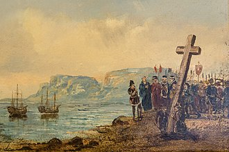 Portuguese explorer Bartolomeu Dias planting the cross at Cape Point after being the first to successfully round the Cape of Good Hope. F. Benda-The planting of cross by Bartholomew Dias in 1488-0681 (cropped).jpg