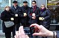 Familie Maissner, Stolpersteine Lange Laube 1, Hannover, (11) Hope, Benjamin Z. und Tal Maissner (Toronto, Kanada), Dean Simon (England) und Shira Maissner (Kanada).JPG