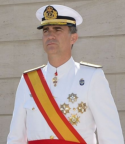 King Felipe VI in uniform of Captain General of the Navy at the Naval NCO Academy in 2014. Felipe VI - 14.07.11-Escuela Marina-1-San Fernando-edit2.jpg