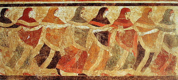 Fresco of dancing Peucetian women in the Tomb of the Dancers in Ruvo di Puglia, 4th-5th century BC Femmes peucetes dansant, fresque.jpg