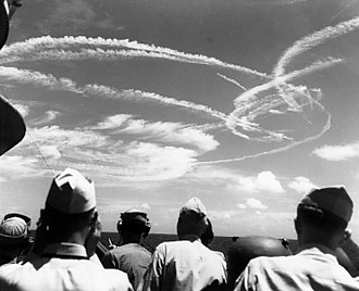 Dogfight - Fighter contrails overhead during the Battle of the Philippine Sea