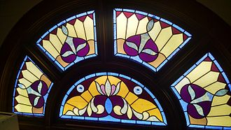 First Universalist Church of Lyons, Ohio - Top of front window from inside