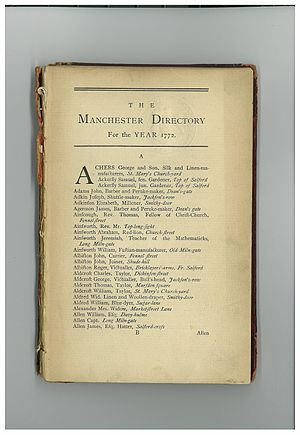 Elizabeth Raffald - First page of the Manchester Street Directory, 1772