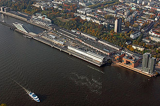 Altona, Hamburg - Aerial view of Altona from the South. In the foreground the Elbe quays.