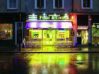 Obesity in the United Kingdom - A fish and chip shop in London SW7