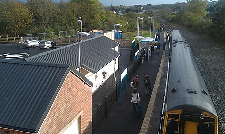 Newly-opened station; passengers alight the train for the first time in 48 years (14 May 2012) Fishguard & Goodwick Train Station reopened 14-05-2012.jpg