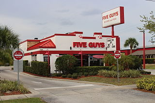 Five Guys Burger and fries chain, based in the United States