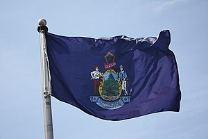 Flag of Maine - The flag flying near Freeport, Maine