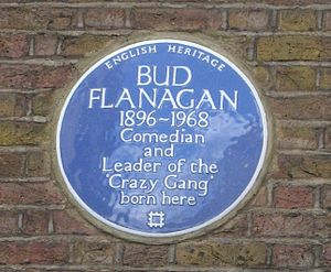 Bud Flanagan - Blue plaque on 12, Hanbury Street where Flanagan was born in 1896
