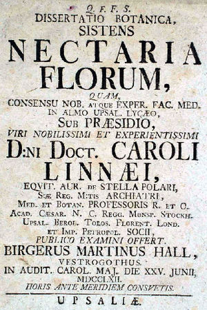 Birger Martin Hall - The cover of the first edition of Nectaria Florum, flyleaf, 1763