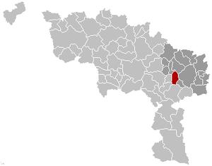 Fontaine-l'Évêque - Image: Fontaine l'Evêque Hainaut Belgium Map