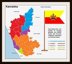 Unification of Karnataka - Karnataka region in pre-independent India which belonged to five states of British India