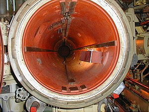 Foxtrot-class submarine - Opened torpedo tube in a Foxtrot