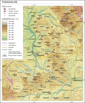 Carte topographique du Jura franconien.
