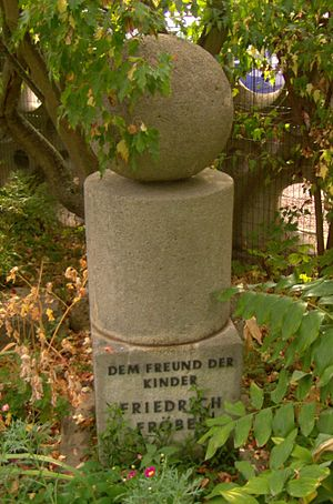 Friedrich Fröbel - The Fröbel Memorial at the Fröbel Kindergarten in Mühlhausen, Thuringia shows the pedagogical basic forms.