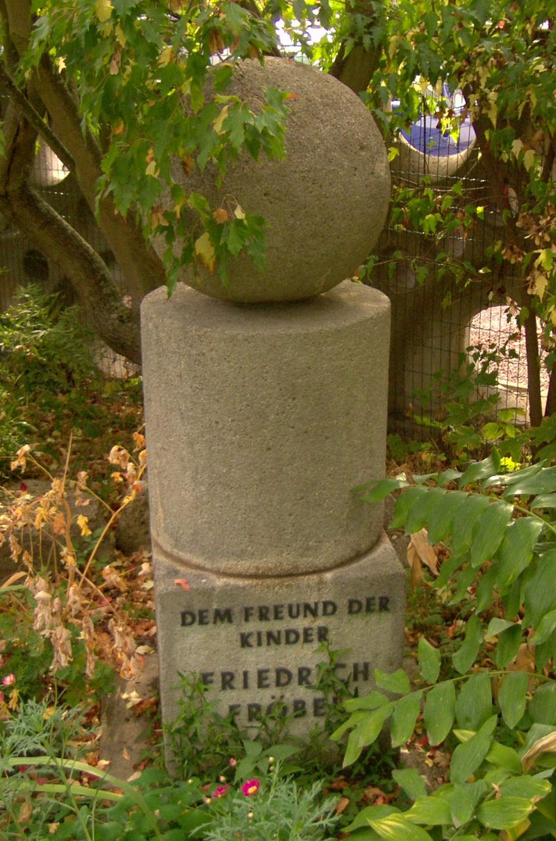 The Fröbel Memorial at the Fröbel Kindergarten in Mühlhausen, Thuringia shows the pedagogical basic forms.
