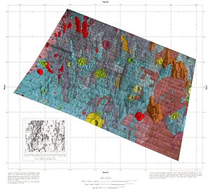 Fra Mauro formation - Geologic map of an area of the formation (Click to enlarge and see color key).