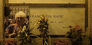 Franca Rame - Franca Rame's grave at the Monumental Cemetery of Milan