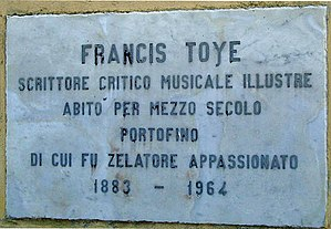 Francis Toye - Memorial plaque for Toye in Portofino, Italy