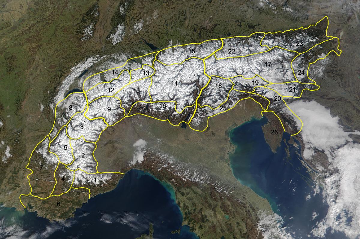 Cartina Satellitare Lombardia.Partizione Delle Alpi Wikipedia