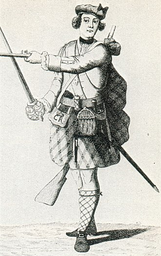 "Independent Highland Companies - An officer of the ""Black Watch"" in 1743. By 1738 the Independent Highland Companies were known officially as Am Freiceadan Dubh or Black Watch"