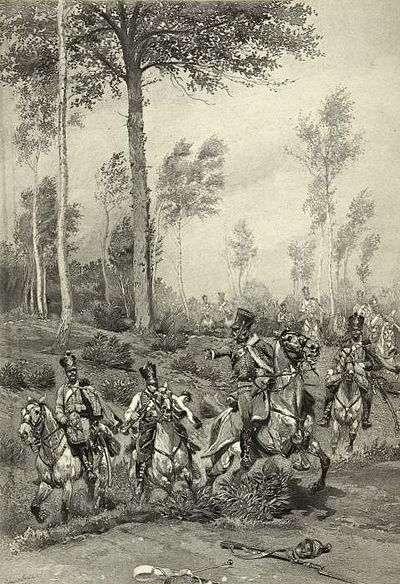 French hussars on a scouting mission. After the successful crossing of the Danube early on 5 July, the French light cavalry launched reconnaissance missions as they preceded the advance of the infantry columns. French Hussars 1809.jpeg