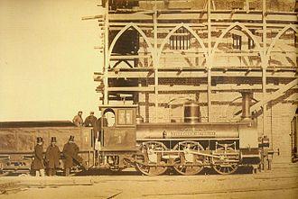 "Wiener Neustädter Lokomotivfabrik - 1865 locomotive ""Friedriech Rembert"" built by Sigl for the Warsaw–Terespol Railway."