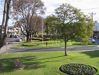 Median strip - The wide median strip in Main St, Bairnsdale, Victoria, Australia has been made into a garden feature of the town.