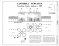 Front Elevation and Base Plan - Tannehill Furnace, 12632 Confederate Parkway, Tannehill Historical State Park, Bucksville, Tuscaloosa County, AL HAER ALA,63-BUCK,2- (sheet 1 of 2).png