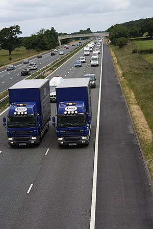 Fuel protests in the United Kingdom - Lorries performing a rolling roadblock in a protest on the M6 in 2007.
