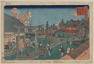 Tomioka Hachiman Shrine - Ukiyo-e woodcut print of the shrine by Utagawa Kuniteru, 1853.