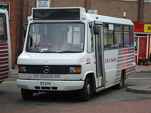 GHA Coaches - Marshall bodied Mercedes-Benz 709D in Wrexham in March 2009