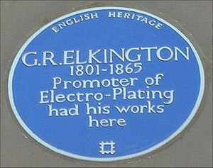 George Richards Elkington - Blue plaque on the old Elkington Silver Electroplating Works