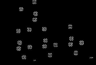 Galactomannan - A segment of galactomannan showing mannose backbone (below) with a branching galactose unit (top)