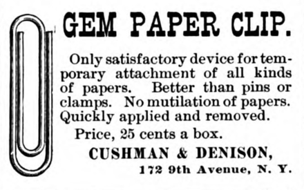 GEM Paper Clip advertisement, Jan 1893, by Cushman & Denison GemPaperClipAdvertisementJan1893.png