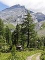 Gemmi; Weg beim Arvenseeli mit Altels (3'629m) im Hintergrund.jpg
