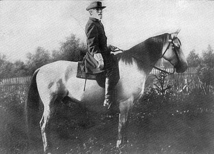Confederate general Robert E. Lee and Traveller. Cavalry played a significant role in the American Civil War. General R. E. Lee and Traveler.jpg