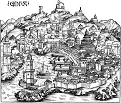 Panorámica de la ciudad-estado de Génova, en un grabado de 1493