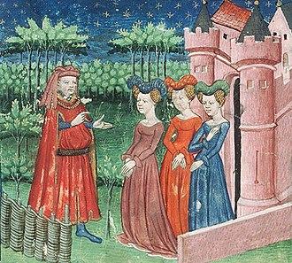 Geoffroy IV de la Tour Landry - Geoffroy de la Tour Landry teaching to his daughters, miniature from a medieval manuscript of the Livre pour l'enseignement de ses filles
