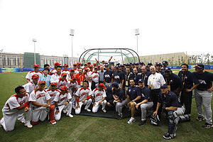 China national baseball team - George W. Bush with the Chinese and American teams at the 2008 Summer Olympics