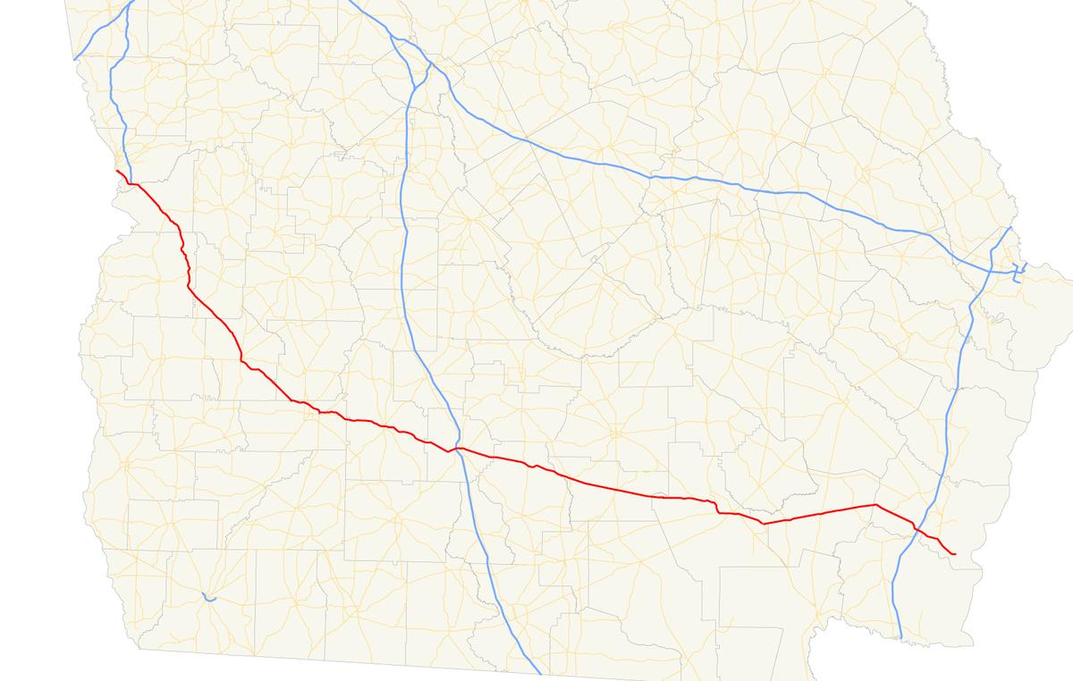 Georgia State Route Wikipedia - Ga state map