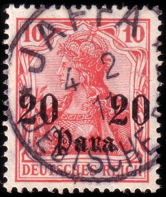 Postage stamps and postal history of Palestine - German Levant stamp, 20 Para on 10 Pf (MiNr. 37), issued 1906, here cancelled in Jaffa, February 4, 1911.