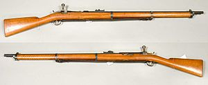 "Jarmann M1884 - ""Three-band"" Swedish Jarmann. Apart from the number of bands around the forestock it was identical to the two-band model adopted by Norway as the M1884."