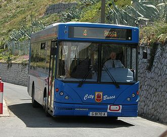 "Transport in Gibraltar - A bus on route 4 at the ""Both Worlds"" terminus, Sandy Bay."