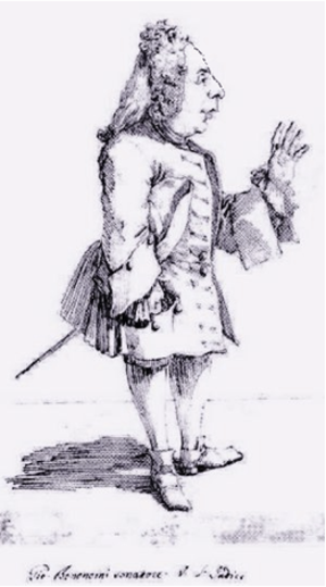 Giovanni Bononcini - Caricature of the composer by Pier Leone Ghezzi