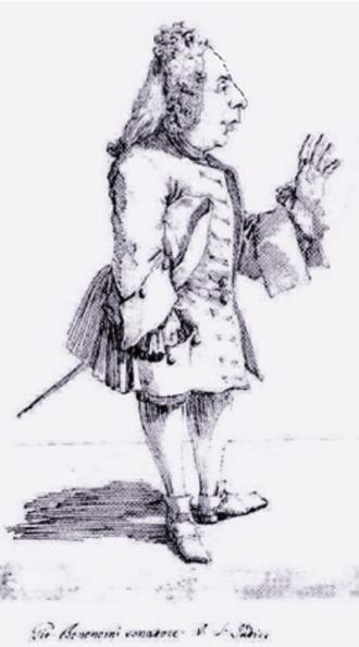 Giovanni Bononcini - Caricature of the composer by Pier Leone Ghezzi