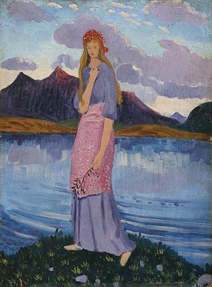 James Dickson Innes - Image: Girl Standing by a Lake James Dickson Innes