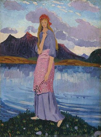 James Dickson Innes - Girl Standing by a Lake, oil on panel, 1911/12. Possibly depicting Euphemia Lamb.
