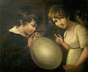 William Tate (painter) - Girl and Boy with a Bladder by William Tate